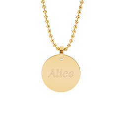 18K Gold Plated Medium Round Tag Stainless Steel Pendant