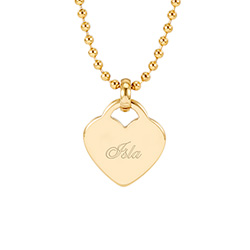 Tiffany Inspired Engravable Gold Stainless Steel Heart Charm Pendant