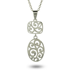 Sterling Silver Oval Filigree Drop Pendant