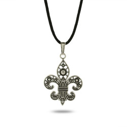 Antique Silver Fleur de Lis Pendant on Black Silk Cord