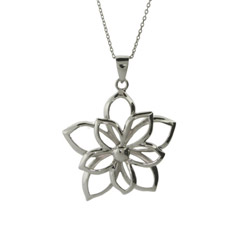Sterling Silver Double Flower Pendant