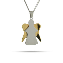 Engravable Two Tone Angel Pendant