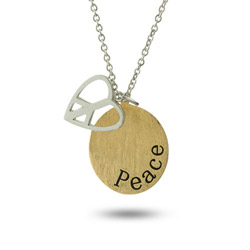 Sterling Silver Peaceful Heart Engravable Gold Peace Charm Necklace