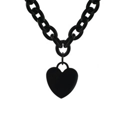 Tiffany Inspired Black Plate Stainless Steel Heart Tag Necklace
