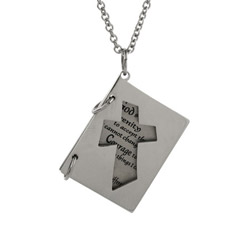 Serenity Prayer Engravable Cross Booklet Pendant
