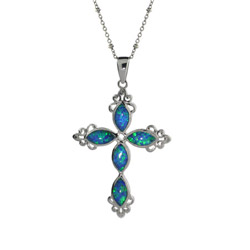 Genuine Opal and Sterling Silver Vintage Cross Pendant