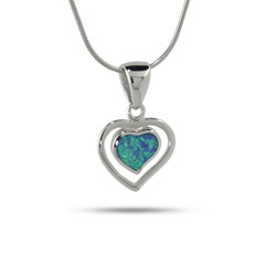 Sterling Silver and Opal Double Heart Pendant