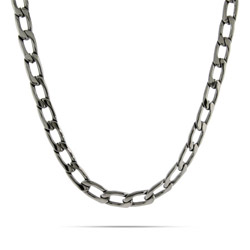 Mens Stainless Steel Flat Curb Link Necklace
