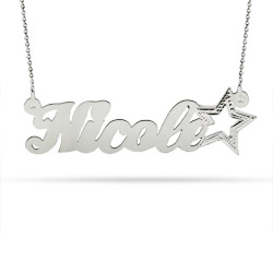 Silver Star Sterling Silver Custom Nameplate Necklace