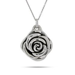 Designer Inspired Sterling Silver Rose Pendant