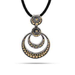 Designer Style Two Tone Bali Crop Circle Necklace