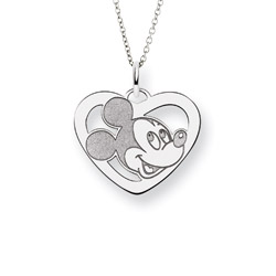 Sterling Silver Mickey Mouse Heart Charm Pendant - Officially Licensed Disney Jewelry