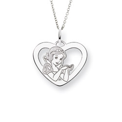 Sterling Silver Snow White Pendant - Officially Licensed Disney Princess Jewelry