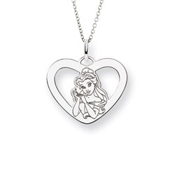 Sterling Silver Beauty & The Beast Belle Pendant Disney Princess