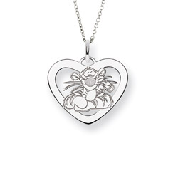 Sterling Silver Tigger Heart Pendant Disney Jewelry