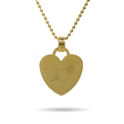 Heart with Rose Engravable Gold Heart Tag Pendant