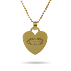 Two Hearts Engravable Gold Heart Tag Pendant