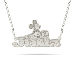 Sterling Silver Mickey Mouse Nameplate Necklace - Officially Licensed Disney Jewelry