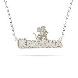 .925 Sterling Silver Disney Mickey Mouse Nameplate Necklace - Officially Licensed Disney Jewelry
