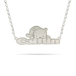 Sterling Silver Winnie The Pooh Nameplate Necklace - Officially Licensed Disney Jewelry