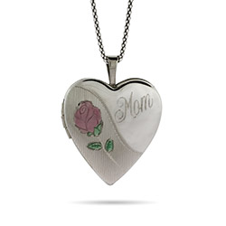 Engravable Sterling Silver Mom Heart Photo Locket with Rose