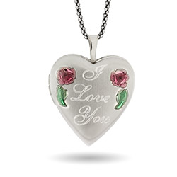 I Love You Engravable Enameled Rose Sterling Silver Heart Photo Locket
