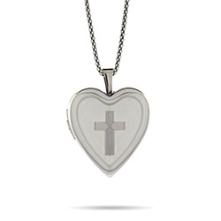 Simple Cross Engravable Sterling Silver Heart Photo Locket