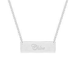Celebrity Inspired Engraved Sterling Silver Nameplate Necklace