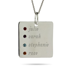 4 Stone Close To The Heart Engravable Sterling Silver Square Tag Pendant