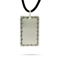 Engravable Scrollwork Dog Tag in Sterling Silver