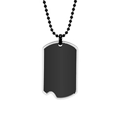 Engravable Black Plate Stainless Steel Dog Tag with Steel Frame