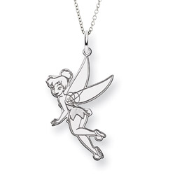 Sterling Silver Flying Tinkerbell Pendant - Officially Licensed Disney Jewelry