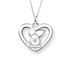 Sterling Silver Piglet Heart Pendant - Officially Licensed Disney Jewelry