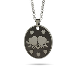 Joined Hearts Engravable Couples Tag Pendant