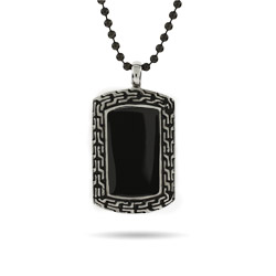 Designer Inspired Engravable Onyx Dog Tag