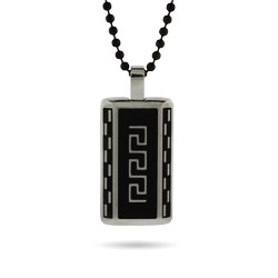 Stainless Steel Greek Design with Black Inlay Dog Tag