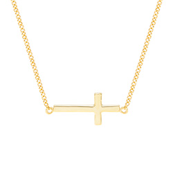 Gold Vermeil Sideways Cross Necklace