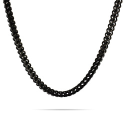 Men's Black Stainless Steel Foxtail Link Chain