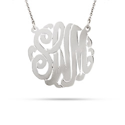 Sterling Silver Small Custom Monogram Necklace