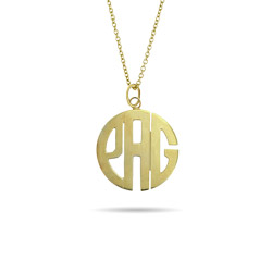 Gold Vermeil Small Block Style Monogram Necklace