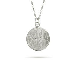 Sterling Silver Small Monogram Tag Pendant