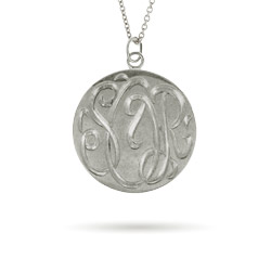 Sterling Silver Medium Monogram Tag Pendant