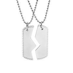 Engravable Best Friends Split Dog Tag Pendant