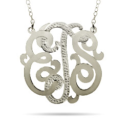 Large Sterling Silver Diamond Cut Custom Monogram Necklace
