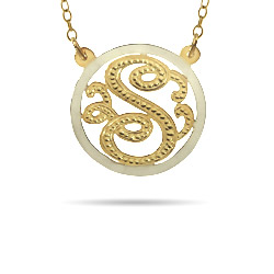 Gold Vermeil Single Initial Custom Monogram Pendant