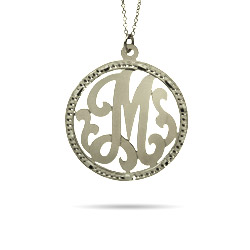 Sterling Silver Small Round Single Initial Custom Monogram Pendant