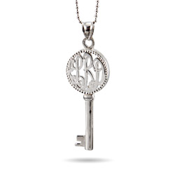 Small Sterling Silver Monogram Key Pendant