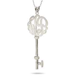 Large Victorian Style Two Initial Sterling Silver Monogram Key Pendant
