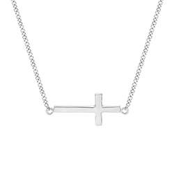 Sterling Silver Petite Sideways Cross Necklace