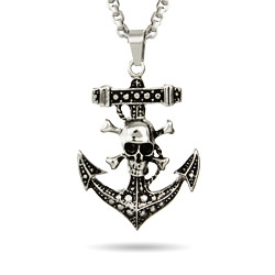 Skull and Crossbones Anchor Pendant